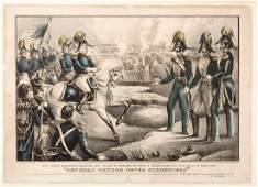 Currier lithograph depicting Santa Anna demanding
