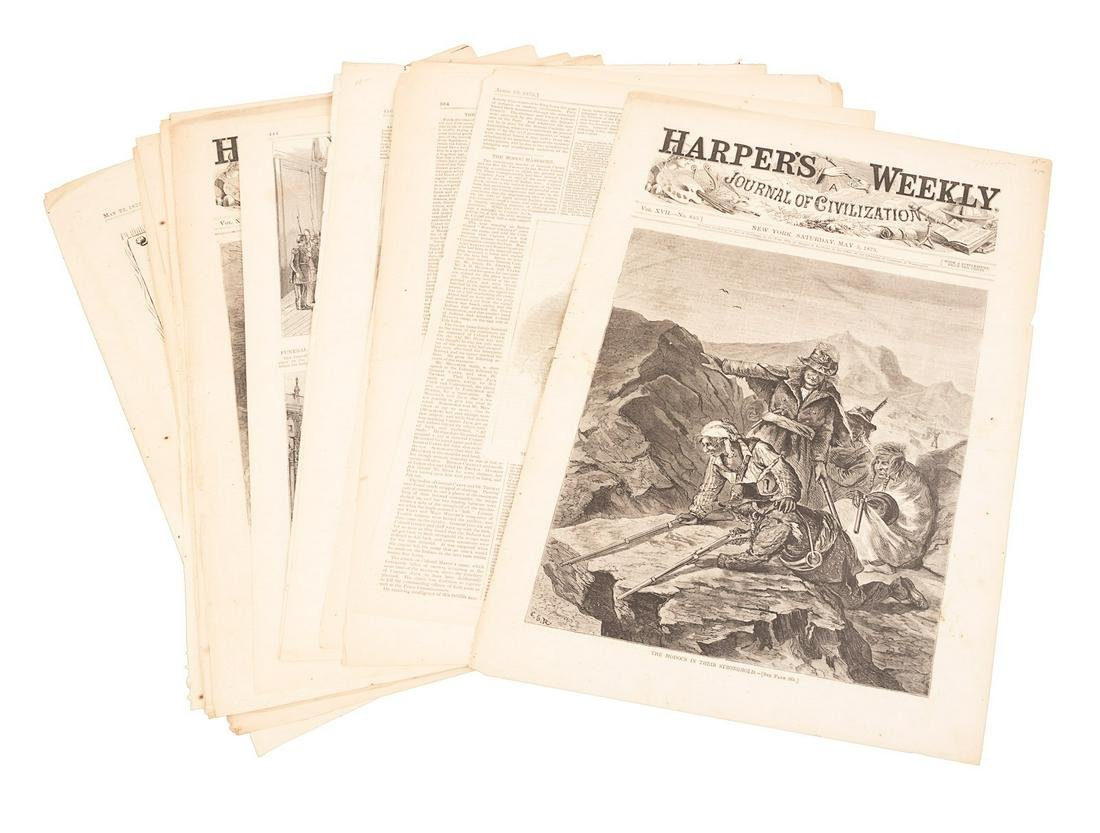 Partial issues of Harper's Weekly with coverage of the