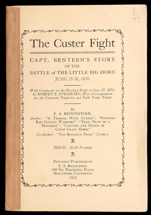 1023: Brininstool on Benteen at Custer Fight 1933