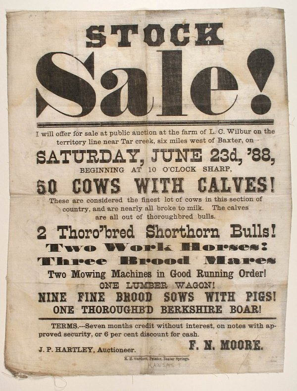 1024: Auction broadside printed on cloth 1888