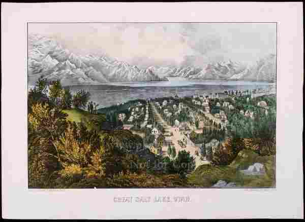 1049: Currier & Ives litho of Great Salt Lake Utah