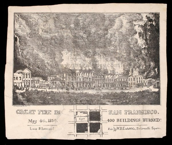 1154: Pictorial Letter Sheet San Francisco Fire 1850