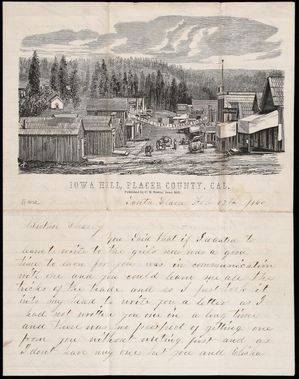 1187: Letter Sheet of Iowa Hill Cal. with 2 A.L.s.