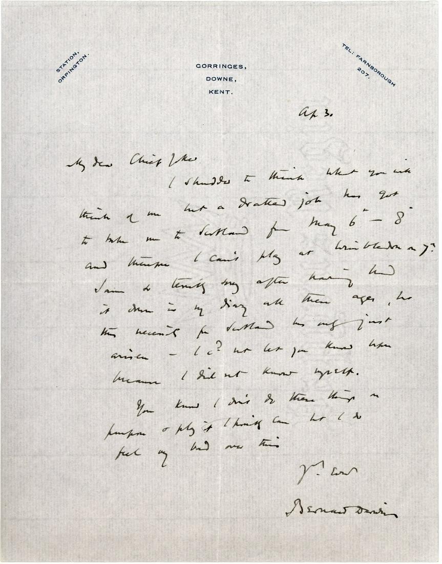 Autograph letter signed by Bernard Darwin c.1930