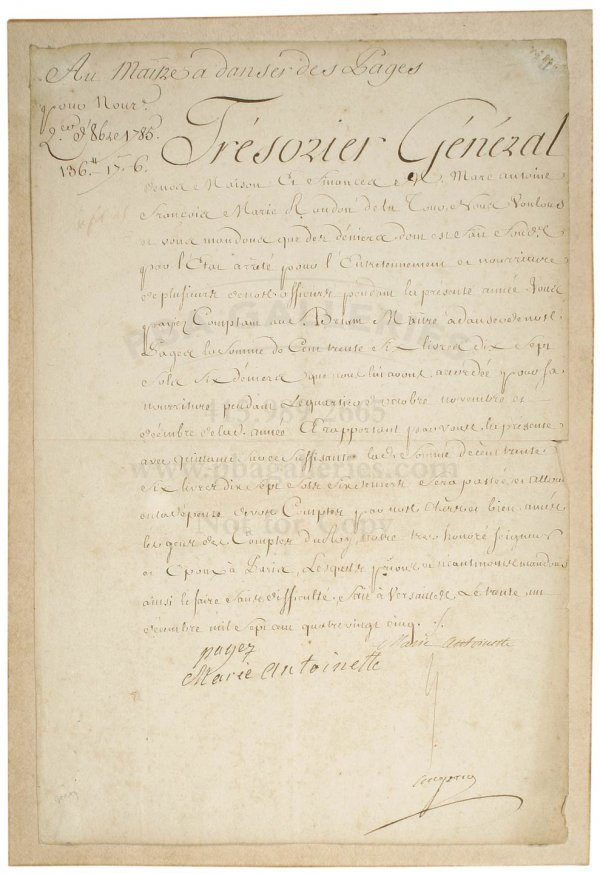 3007: Document Signed by Marie Antoinette 1785