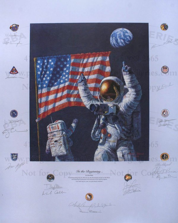 3009: Poster Signed by 20 Apollo Astronauts