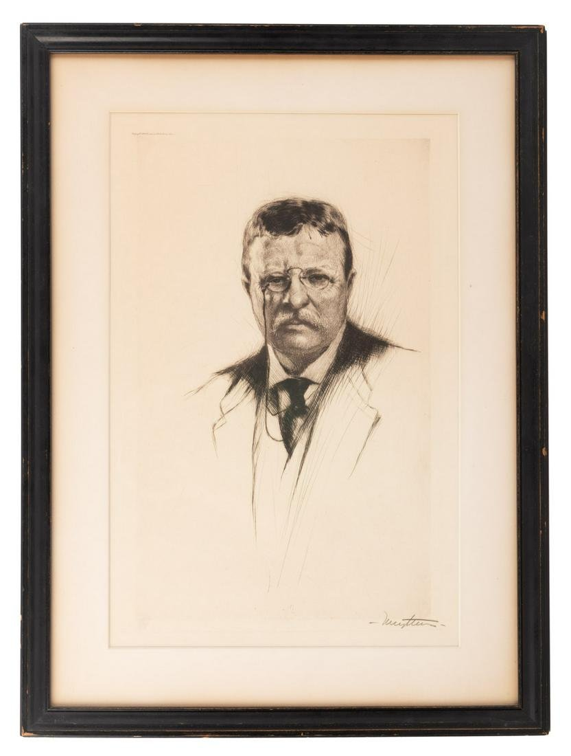 Drypoint etching of Theodore Roosevelt