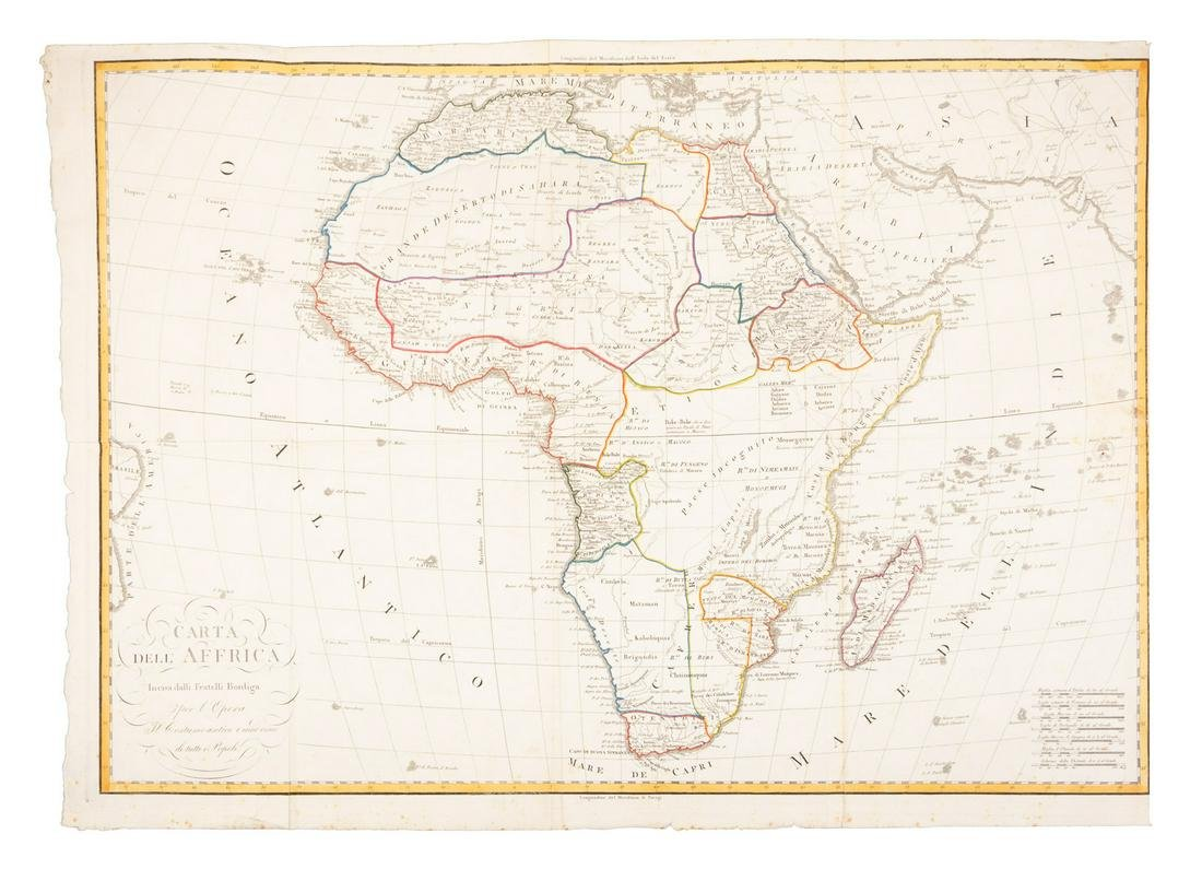 Large map of Africa in early 19th century