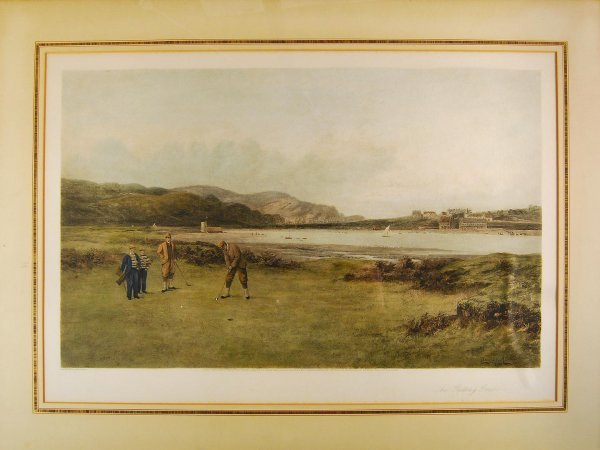 "1001: ""The Putting Green"" hand-colored print 1890's"