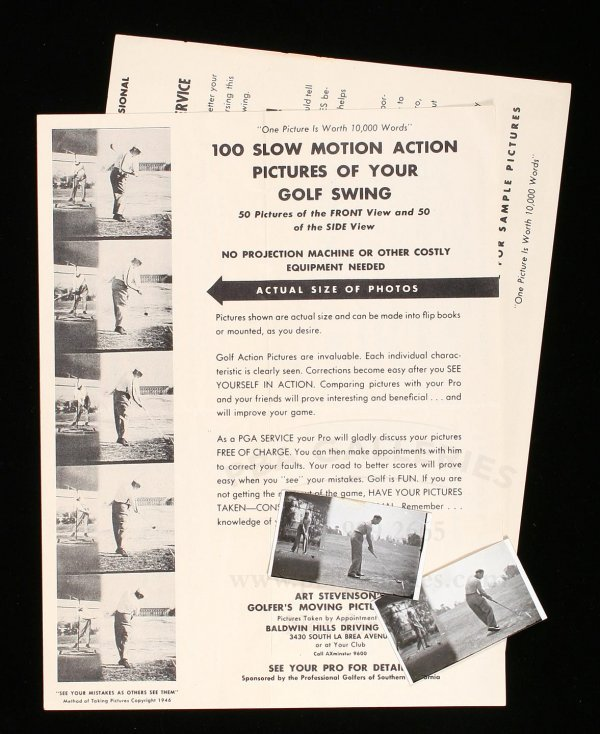 1008: 1946 Art Stevenson golf fliers & 2 real photos