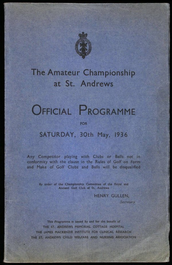 1025: 1936 British Amateur Golf Championship program