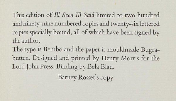 7: Beckett, Ill Seen: Ill Said, Barney Rosset's copy