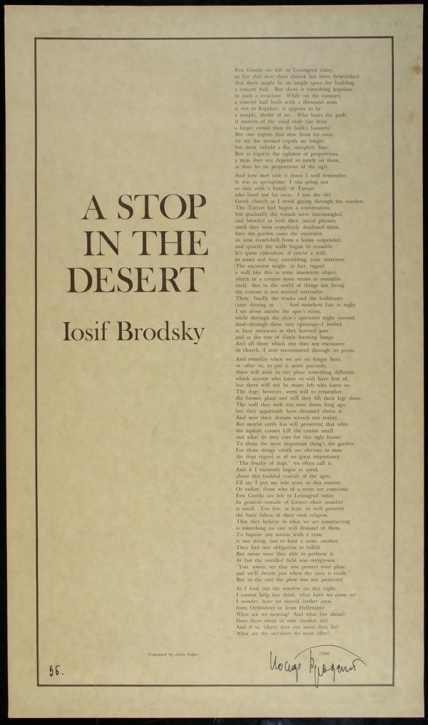 10: Brodsky, A Stop in the Desert broadside Signed
