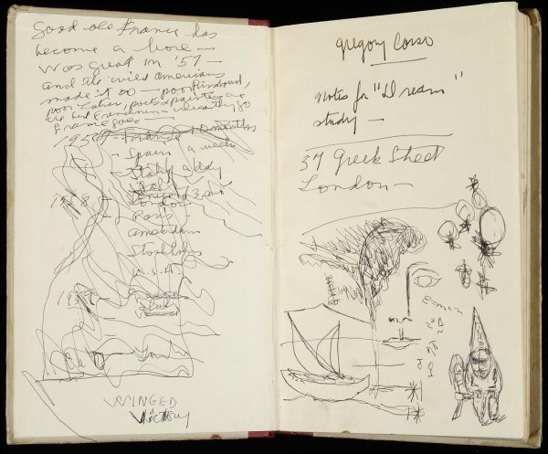 230: Gregory Corso original 1963 journal with drawings