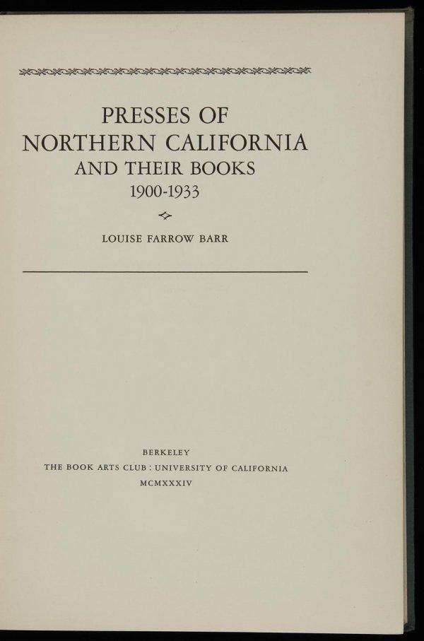 1012: Barr, Presses of Northern California Ltd 1st Ed.