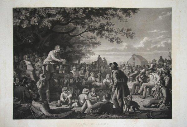 1016: Rare George Caleb Bingham Print Stump Speaking