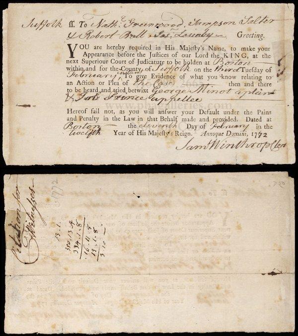1020: Rare Colonial Boston Court Summons 1772
