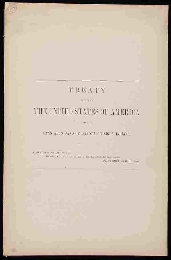 U.S. Treaty Sans Arcs Band of Dakota/Sioux, 1866