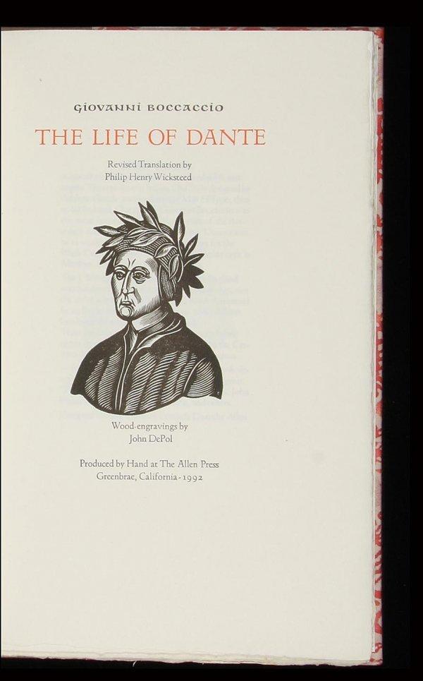 2008: Allen Press, Boccaccio, Life of Dante, 1/115