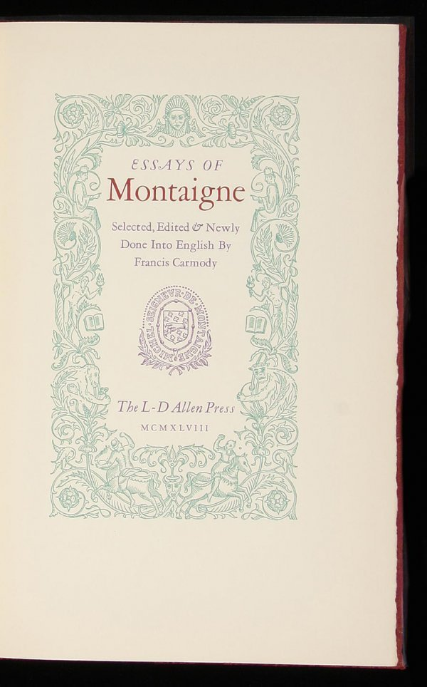 2014: Allen Press Essays of Montaigne Mallette Dean ltd
