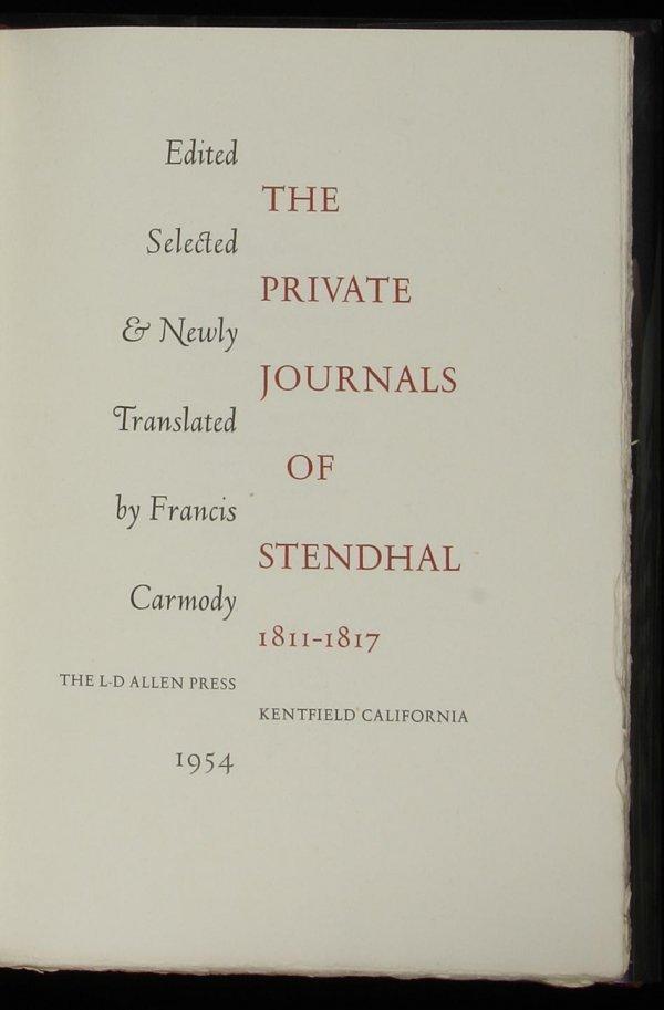 2015: Allen Press Private Journals of Stendhal, 1/175