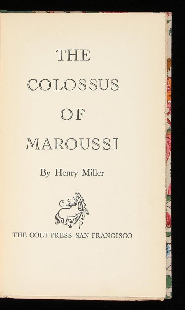 2093: Henry Miller The Colossus of Maroussi Colt Press