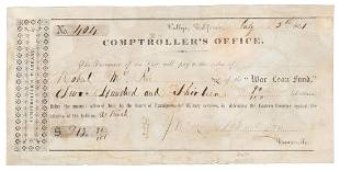 Pay warrant from the Mariposa Indian War 1851
