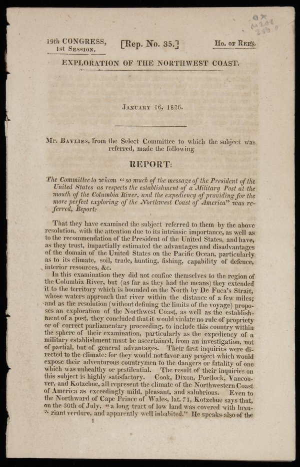 18: Report on Northwest Coast exploration 1826