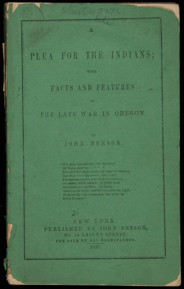 19: Beeson's Plea for the Indians 1857
