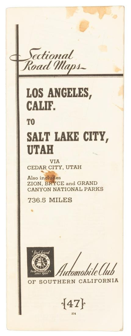 Auto route book for Los Angeles to Salt Lake City