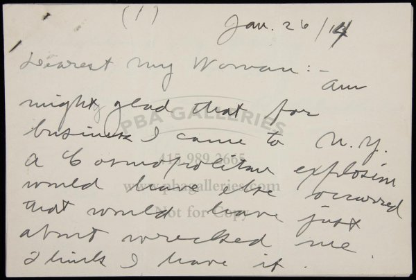 1269: Autographed letter Sgd by Jack London to his wife
