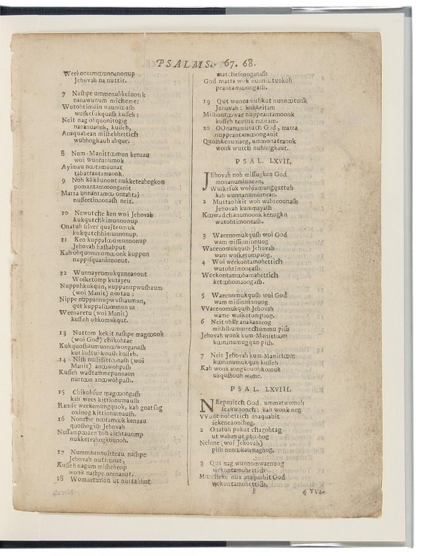 2016: Leaf Book from Eliot Indian Bible 1663