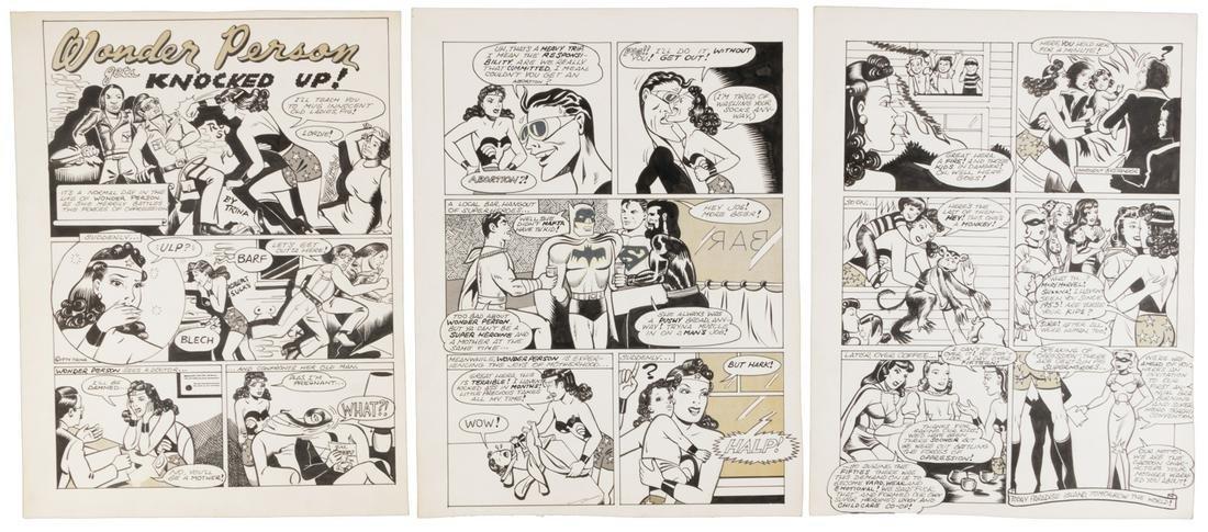 ORIGINAL ART: Trina Robbins WONDER WOMAN Satire, 1974