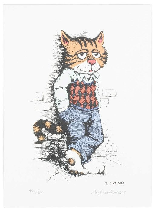 R Crumb Fritz The Cat Color Signed Print Limited To Jun 04 2020 Pba Galleries In Ca