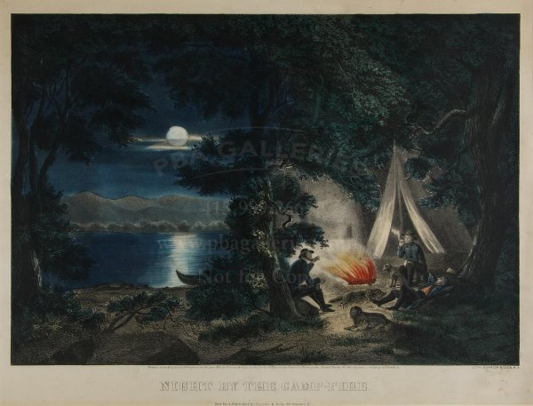 133: Currier & Ives, Night by the Camp-Fire lithograph