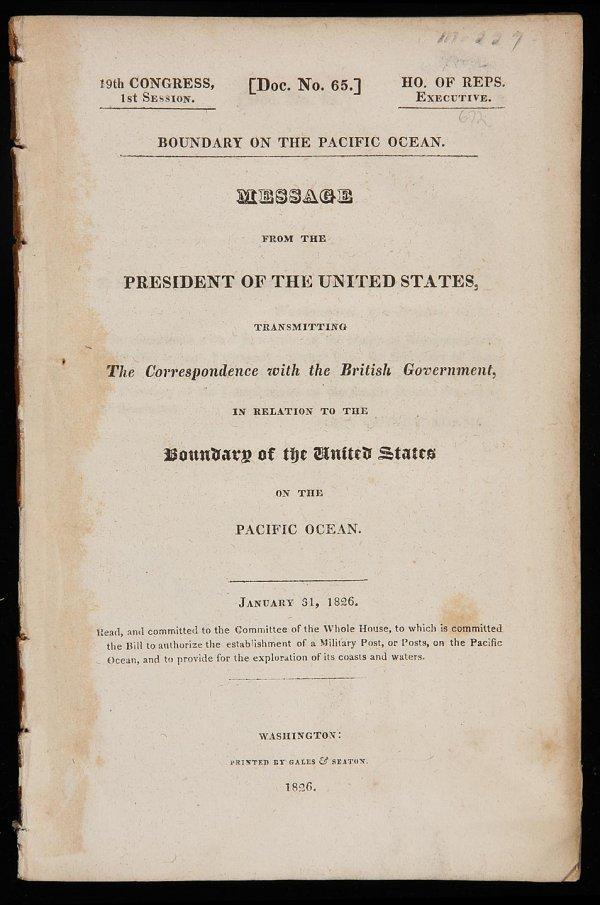 1001: Correspondence on Northwest Coast Boundary 1826