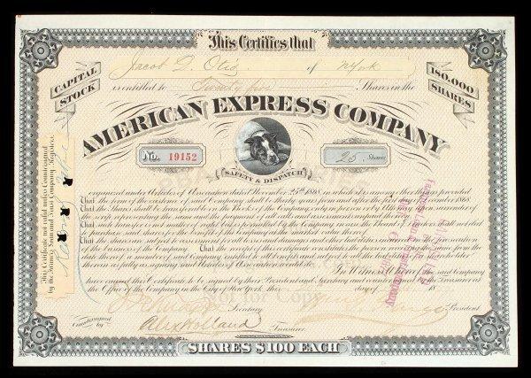 1005: Amer. Exp. Stock Certificate sgd. Fargo, Holland