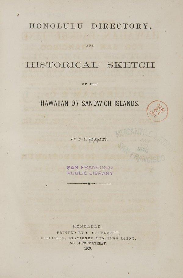 1009: First Honolulu Hawaii City Directory 1869