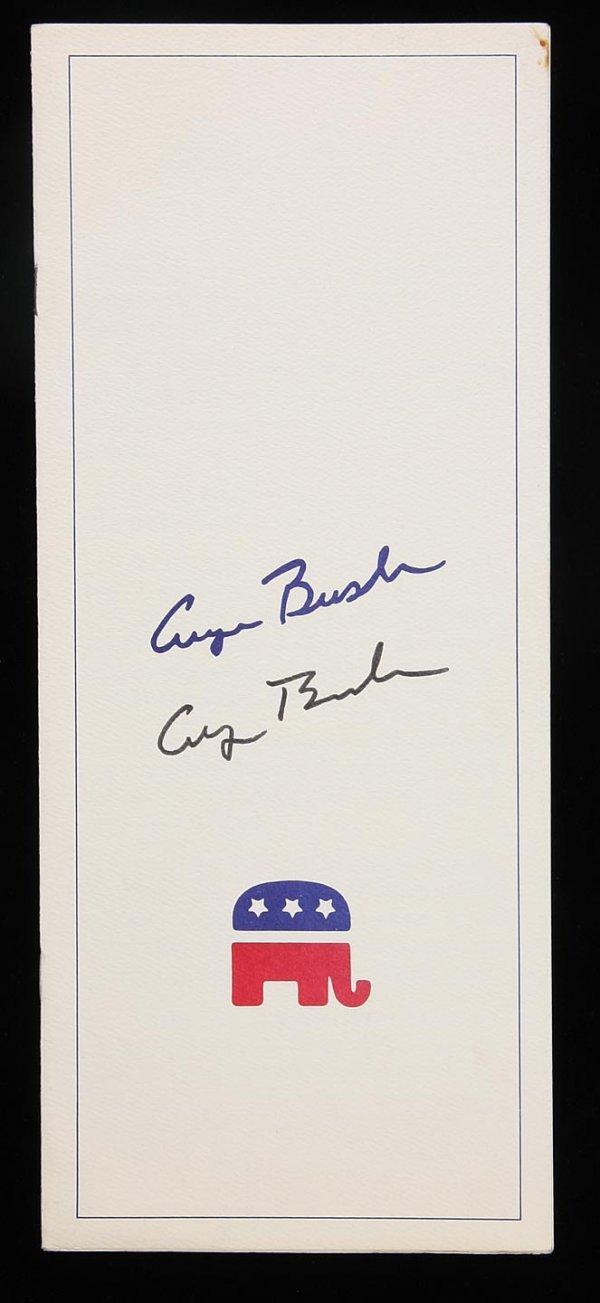 1023: Dinner program signed by George H.W. Bush