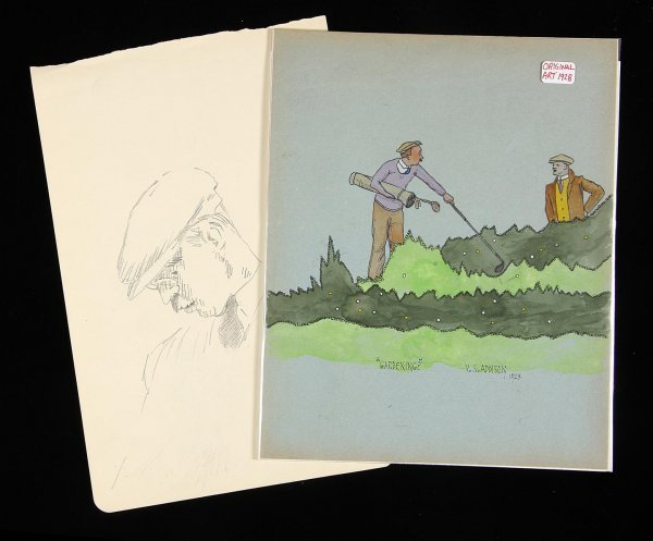 2001: V.S. Addison original watercolor & drawing - golf