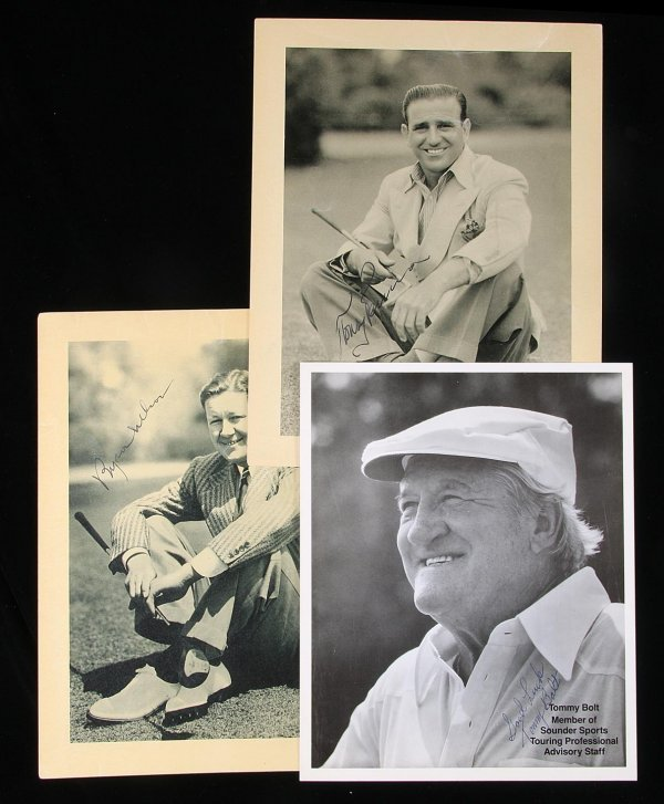 2008: 3 signed photographs Byron Nelson, Tony Penna...