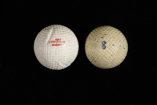 2015: Two line cut gutta-percha golf balls