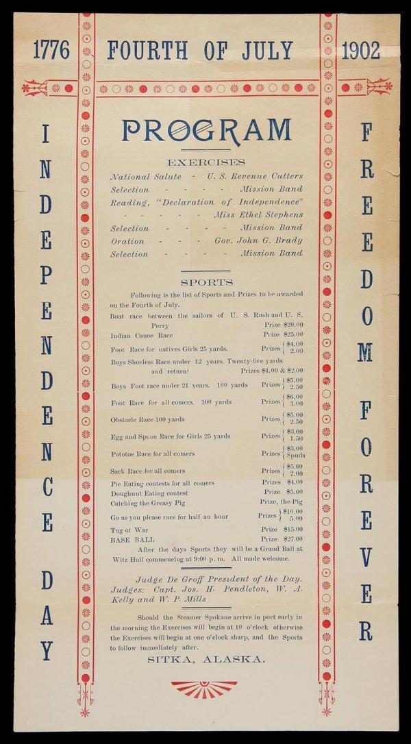 4: Fourth of July Program Sitka, Alaska 1902