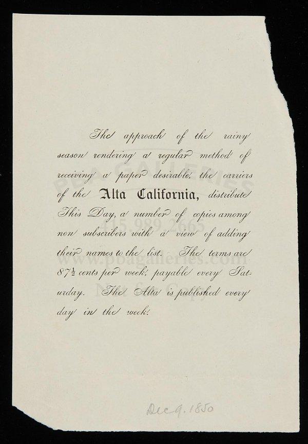 10: Alta California Newspaper Promotional Handbill
