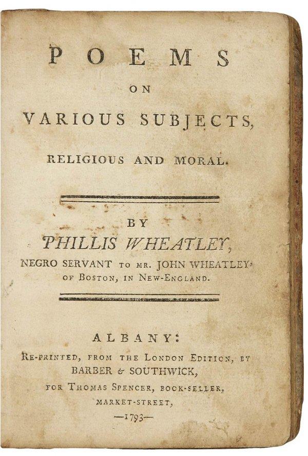 13: Phillis Wheatley's Poems Albany 1793
