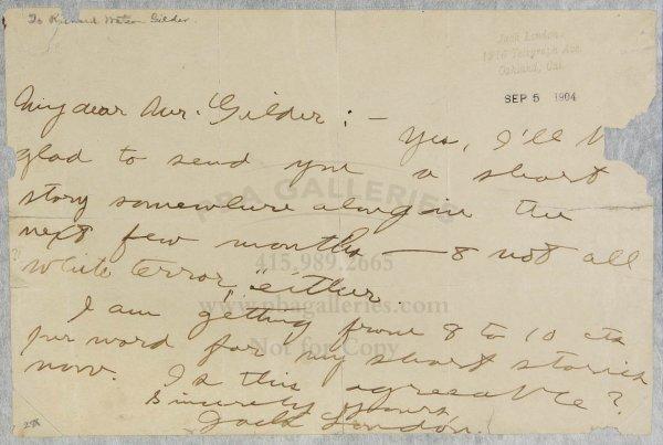 1011: Jack London Signed Letter