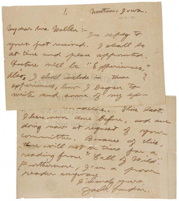 1012: Jack London Signed Letter