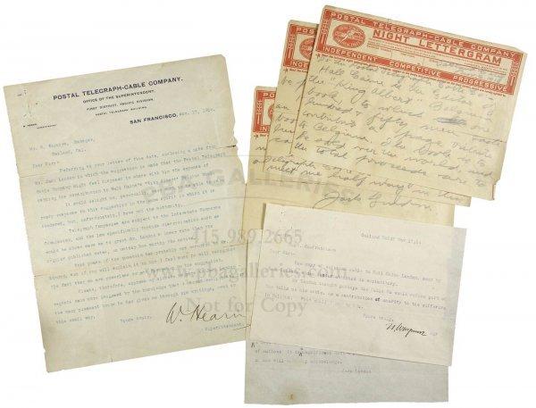1013: Jack London Autograph Cable Telegram