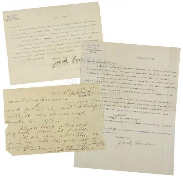1014: Jack London 3 Signed Letters