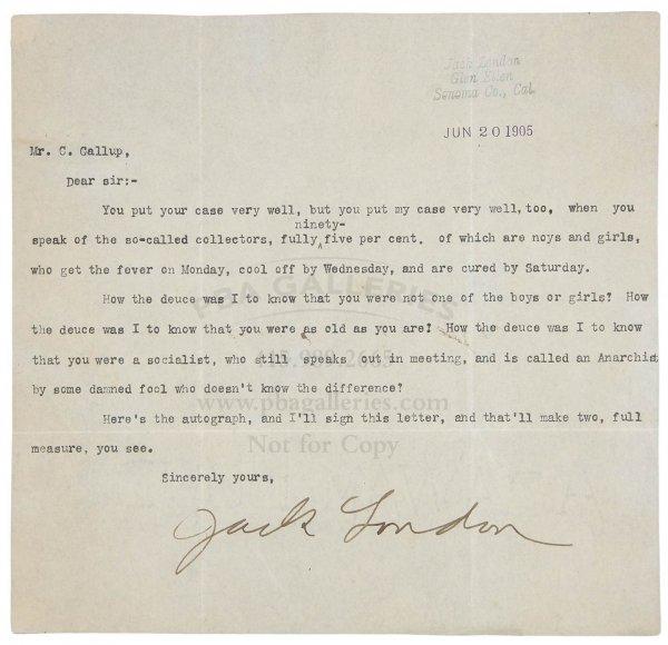 1018: Jack London Signed Letter